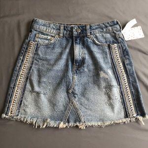 NWT fp mini denim embellished skirt